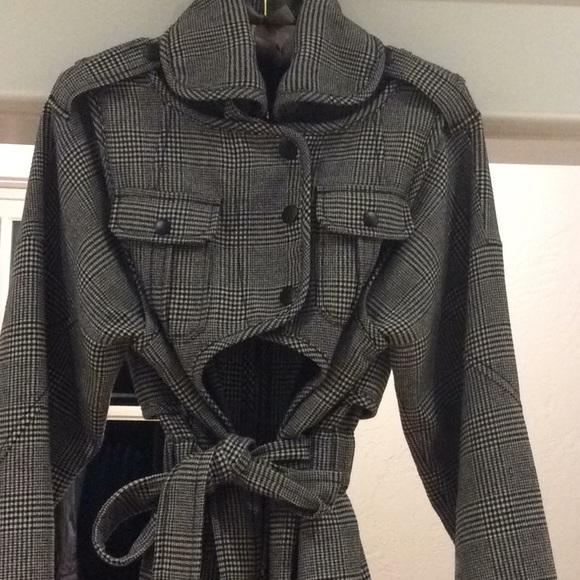 Marissa Webb plaid wool trench coat